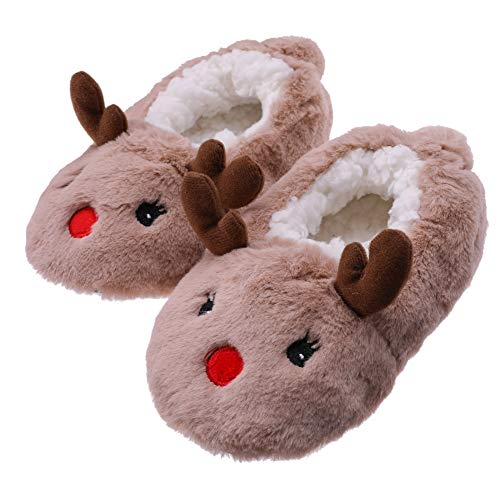 FANZERO Toddler Kids Girls Boys Cute Cartoon Animal Soft Warm Plush Lining Non-Slip Slippers Winter House Shoes Khaki Deer,9 M US Toddler