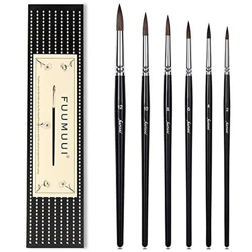 Squirrel Hair Watercolor Brushes, Fuumuui 6pcs Detail to Mop Watercolor Brushes Round Pointed Paint Brush Set High Water Holding Capacity Perfect for Watercolor Ink Gouache Painting