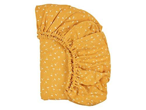 KraftKids Sábana bajera de muselina, color amarillo, diente de león, 100% algodón, tamaño 140 x 70 cm, funda de colchón hecha a mano fabricada en la UE