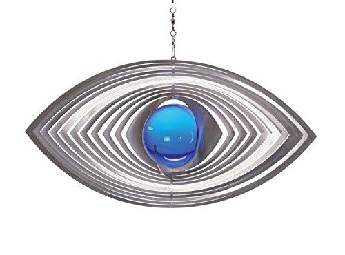 Illumino Edelstahl-Windspiel Ellipse mit kobaltblauer 50mm Glaskugel