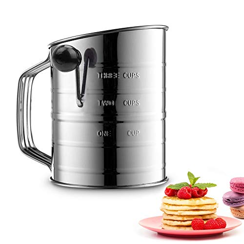 3 Cup Flour Sifter for Baking Stainless Steel,4 Wire Agitator Rotary Hand Crank Sifter Professional Flour Sieve