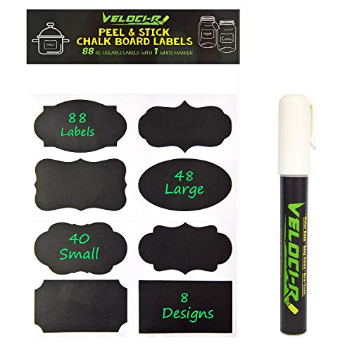 Chalkboard Labels - 88 Premium Reusable Chalkboard Stickers with 1 Free Erasable Liquid Chalk Markers for Labeling Jars, Parties, Craft Rooms and Organize Your Home & Kitchen