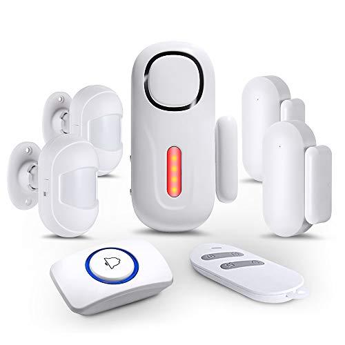 KERUI Tür Fenster Alarmanlage mit 1 Fernbedienung,2 Tür- und Fenstersensoren,1 Türklingelknopf Erweiterbarer 120dB Sirene Einbruchschutz Alarmanlage Home Alarm Sicherheits System Wireless Kit