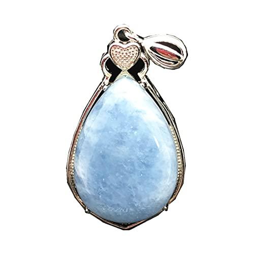 DUOVEKT - Colgante de aguamarina azul natural para mujer, 34 x 19 x 13 mm, cuentas de plata de ley 925 y piedras preciosas transparentes AAAAA