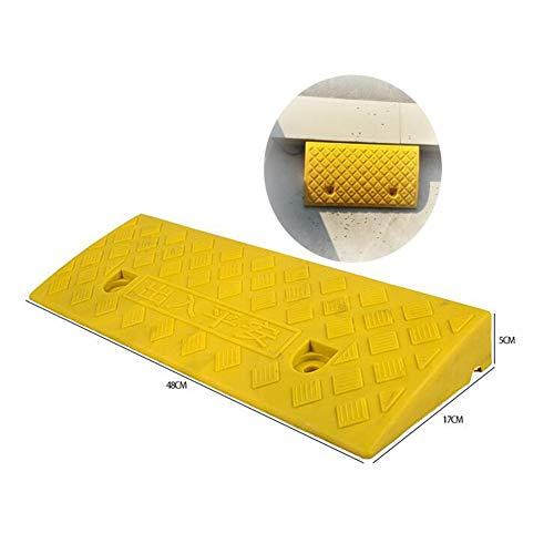 Baiying Rubber Kerb Ramps Threshold Sidewalk Wheelchair Portable Heavy Ramp Non-Slip Buttonhole Design PVC, 6 Sizes (Color : Yellow, Size : 50X22X5CM)