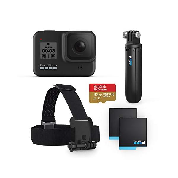 GoPro HERO8 Black Bundle – Includes HERO8 Black Camera, Shorty, Head Strap,...