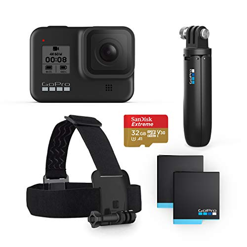 GoPro HERO8 Black Bundle - Includes HERO8 Black Camera, Shorty, Head Strap, 32GB SD Card, and 2 Rechargeable Batteries