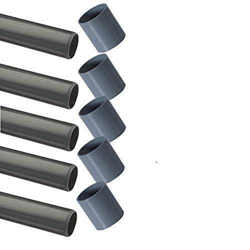 EXCOLO PVC Rohre nur Rohr und Muffe ohne Fitting Ø 40 mm Fitting Winkel Kniestück Adapter T-Stück Kappen (5 x Rohr 1M + Muffen)