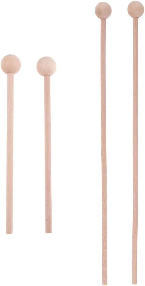 YIJU 2 Pairs Wooden Tongue Drum Round High order Percus Sticks Head Portland Mall Mallets