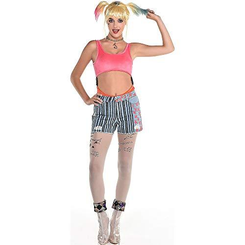 Bioworld Birds of Prey Harley Quinn Costume Adults, Size Extra Large,Bodysuit High-Rise Denim Shorts