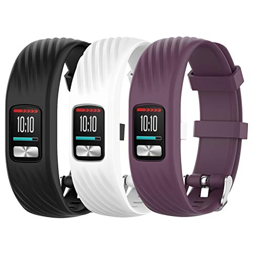 HWHMH Silicone Replacement Strap Band for Garmin Vivofit 4 (No Tracker, Replacement Bands Only) (Black&White&Purple, Large)