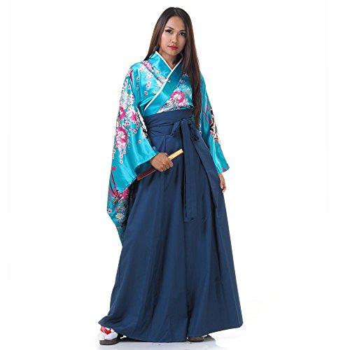 Princess of Asia Japan Damen Geisha Samurai Kimono Outfit Kostüm S M 36 38 40 (Türkis & Blau)