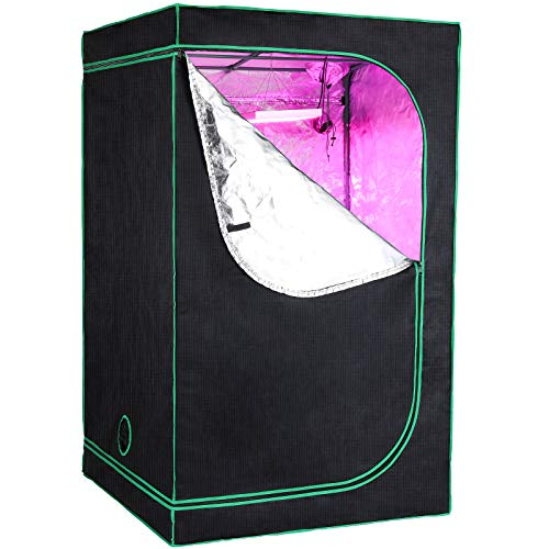 GARTIO 600D Mylar Lightproof Grow Tent, 4' x 4' High Reflective Hydroponic Plant Room, W/Observation Window, Removable Floor Tray for Indoor Fruit, Flower,Vegetable, Gardening, 48''X48''X80''