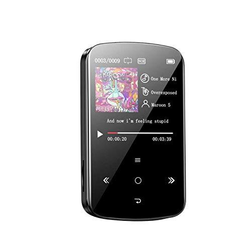 32GB MP3 Reproductor, Bluetooth USB 2.0 Portátil Música Reproductor Con Fm Radio , 1.54' Pantalla, Táctil Botón, E-Book Running/Podómetro Función, Incluido 3.5mm Jack Auriculares - Negro, free size