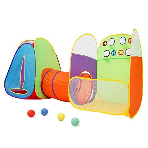 Alvantor Kids Tent Fun Toss It Game Zone 3-in-1 Pop Up Tent Play Tents Indoor Outdoor Tent Great Game & Toy Gift for Children Fun (Include 4 Balls)