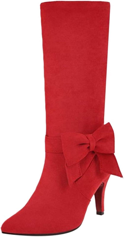 TAOFFEN Women Sweet High Heel Mid Boots Pull On