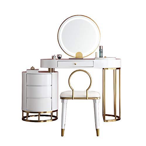 AMY-XCQ Schminktisch Aufbewahrungsschrank EIN Schlafzimmer Moderne Kleine Wohnung Mit Licht Und Hocker Voller Stil,Weiß