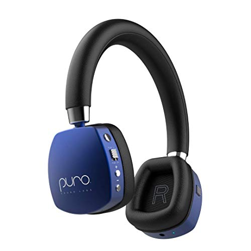 Puro Sound Labs PuroQuiets Volume Limited On-Ear Active Noise Cancelling Bluetooth Headphones – Lightweight Headphones for Kids with Built-in Microphone – Safer Sound Studio-Grade Quality (Dark Blue)