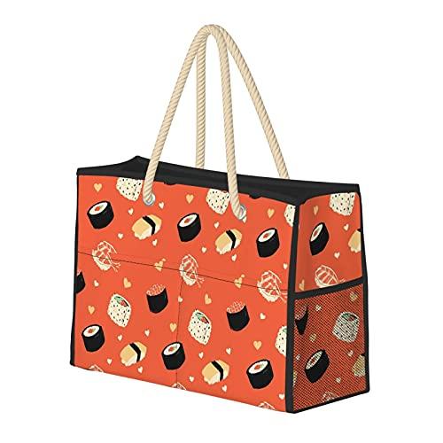 Bolsas de playa para mujer, sushi, sushi, grande, bolsa de viaje, bolsa de almacenamiento, bolsa de verano, bolsa de piscina, bolsa de hombro, para playa, viajes, gimnasio