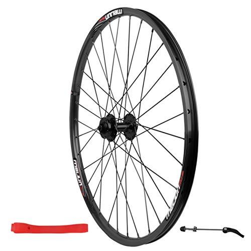 Rueda Delantera de 26 Pulgadas,Aleación De Aluminio Pared Doble Freno Disco 7/8/9/10 Velocidad Bicicleta de Montaña Rueda Única (Color : Black, Size : 26inch)