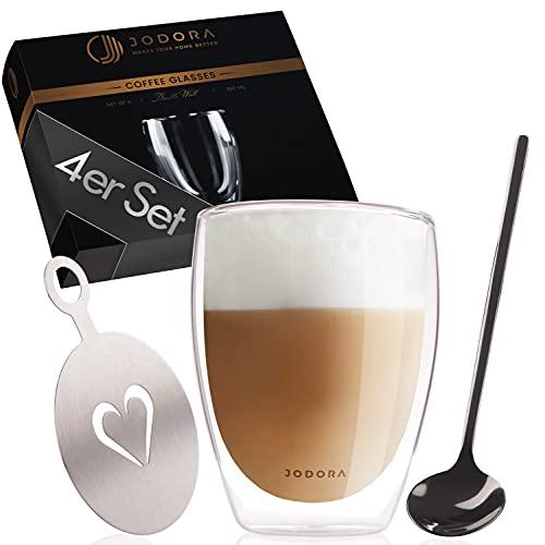 JODORA Latte Macchiato Gläser Set - {4 x 350ml} - Latte Macchiato Gläser doppelwandig - Eiskaffee Gläser mit 4 Edelstahl Löffeln - latte Gläser spülmaschinenfest