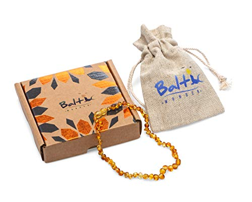 Baltic Wonder Baltic Amber Necklace (Baroque Honey) Unisex - 100% Certified Authentic Baltic.