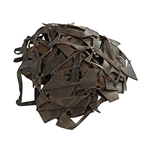 Hide & Drink, Cow Leather Chips & Scraps, Trimming Rustic Pieces (1.8mm), Craft & Workshop (12 Ounce) :: Bourbon Brown