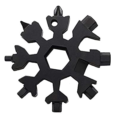18-in-1 Snowflake Multi-Tool Screwdriver, Stainless Steel 18-1 Multitool Snow Tool,Best Christmas Gift for mens (Black)
