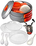 Camping Cookware Kits - BPA-Free Non-Stick Anodized Aluminum Mess Kits - Complete Lightweight Mini Folding Pot Kits with Utensils for Camping Hiking Backpacking and Survival Cooking (14 Piece Set)