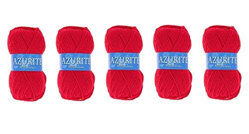 les colis noirs lcn Lot 5 Pelotes de Laine Azurite 100% Acrylique Tricot Crochet Tricoter - Rouge - 156