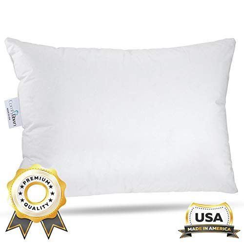 "ComfyDown Travel Pillow - 800 Fill Power European Goose Down Pillow for Plane, Car & Home - 100% Hypoallergenic - Egyptian Cotton Cover - Made in USA - 12""x16"""