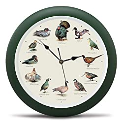 Singing Wild Game Birds of North America Hunting Wall Sound Clock, 13 Inch