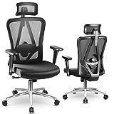 MFAVOUR Bürostuhl, ergonomischer PC-Stuhl, verstellbare Kopfstütze/Armlehnen, Lendenstütze, besserer Schutz der Säule, für Sedentaren, 150 kg, Schwarz
