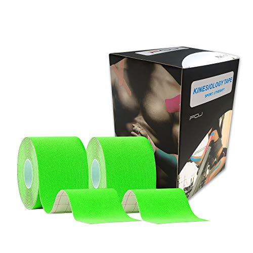 テーピングテープ キネシオ テープ 筋肉・関節をサポート 伸縮性強い 汗に強い パフォーマンスを高める 5cm×5m (グリーン)2巻入