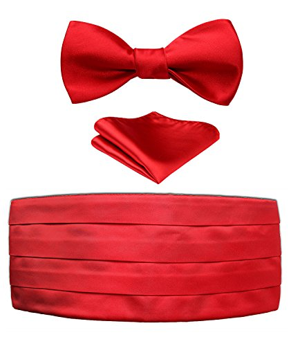 Men's Solid Red Satin Cummerbund & Self Bowtie & Pocket Square Set,Pure Red,One Size