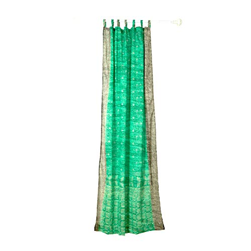 """Colorful Window Treatment Draperies Indian Sari Panel 108 96 84 inch for Bedroom Living Room Dining Room Kids Teens Canopy Boho Curtains Silk Bag (Seafoam Green, 42""""W x 96""""L)"""