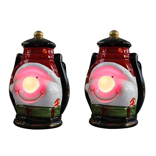 Jedewomi Christmas Decorations Night Light LED Christmas Wind Lantern Ornaments,2 Pack Indoor Lanterns Decorative,Outdoor Hanging Lantern,Decorative Candle (A)