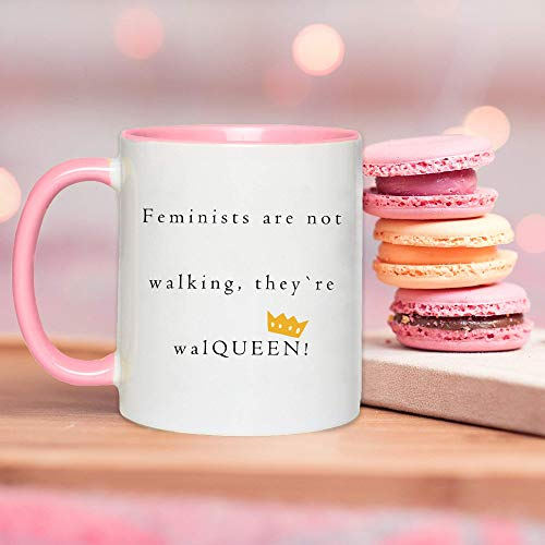 Mug-Women Equality Day Pink Handle Mug, Feminist Women Gift Mug, Feminism Classy Ceramic Mug, Women Empowerment Coffee Mug, 11oz Funny Coffee Mug