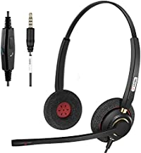 Cell Phone Headset with Microphone Noise Canceling & Call Controls Wired 3.5mm Computer Headset for iPhone, Samsung, PC, Laptop, Business Skype Softphone Call Center Office