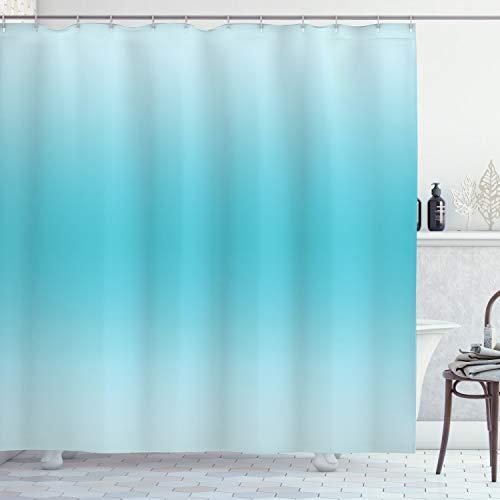 Ombre cortina de ducha por Ambesonne, Tropical playa Cala acuático Ombre diseño Digital impreso decoración arte impresión, tela Set de decoración de baño con ganchos, 84pulgadas extra largo, turquesa