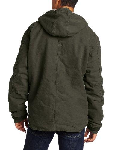 Carhartt Men's Big & Tall Sherpa Lined Sandstone Hooded Multi Pocket Jacket J284,Moss,XXXX-Large
