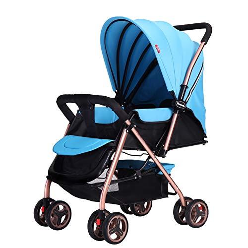 NAUY @ Cochecito de bebé Ligero Portable High Landscape Puede Sentarse y acostarse Plegable Simple Handle Reversible Suspension Neonatal Buggy Baby Trolley Sillas de Paseo (Color : Azul)