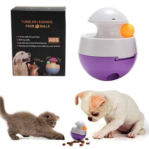 TVMALL Orbit Ball Dog Toy Interactief voedsel Dispenser Feeder Grote Kleine Grootte Kat Hond Speelgoed Bal Orbit Bal Interactief Speelgoed Puzzel Training spel Feeder om de IQ van puppy huisdieren te verbeteren, Small(10x10x12.5CM), Purple white
