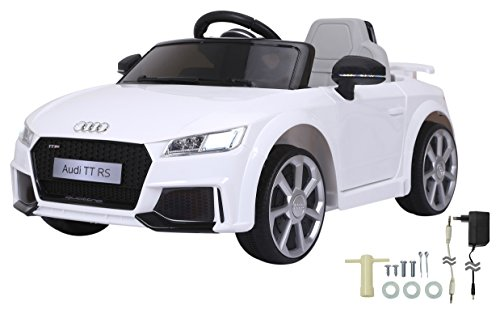 Jamara 460278 Ride-on Audi TT RS 12V-softstarting, 2 snelheden, rubberen ring, voertuig, wit