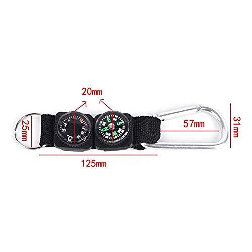 Smartey Kompass-Überlebenskompass-Thermometer-Schlüsselbund mit 3-in-1-Mini-Multifunktions-Metallkarabiner-Thermometer-Kompass mit Schlüsselring für den Outdoor-Sport