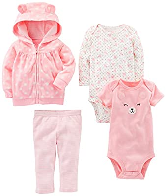 Simple Joys by Carter's Baby Girls 4-Piece Little Jacket Set, Pink Bear, 18 Months
