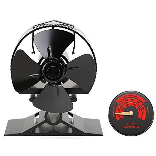 Kaminventilator 4 Blätter Kamin Ofen Ventilator, CRSURE SF-524 Stromloser Feuerstelle Kaminöfen Wärmebetriebener Ofenventilator Große Räume für Kaminofen Holzöfen Umweltfreundlich ohne Strom.