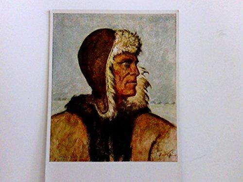 """Künstler AK \""""Vom Grossen Treck\"""", Otto Engelhardt-Kyffhäuser : Bauer Demke. Portrait, Mann mit Felljacke und Kappe. Volksbund Deutschtum im Ausland"""