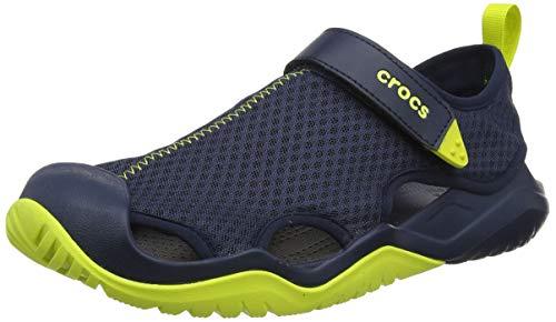 Crocs Mens Swiftwater Mesh Deck Lightweight Beach Water Friendly Sandals - Navy/Citrus - M12