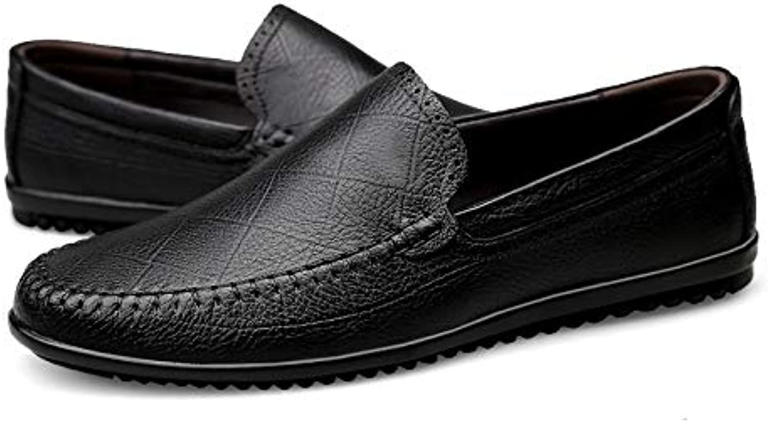 HAWEEL Leather Formal Dress shoes, Round Head Wear Resistant Solid color Casual shoes for Men (color Black Size 36)